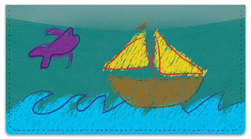 Kid Drawing Checkbook Cover
