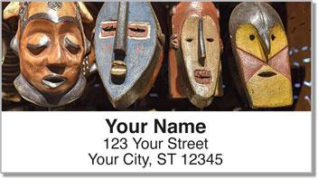 African Tribal Masks Address Labels