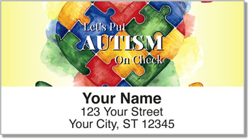 Autism Puzzle Pieces Address Labels