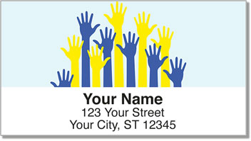 Down Syndrome Blue and Yellow Awareness Ribbon Address Labels