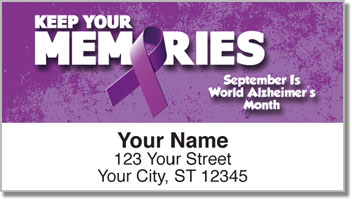Alzheimer's Awareness Purple Ribbon Address Labels