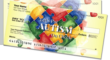 Autism Awareness Puzzle Pieces Side Tear Checks