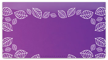 Purple Leaf Border Checkbook Cover
