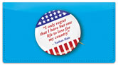 Patriotic Button Checkbook Cover