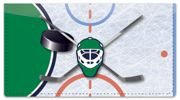 Green & Blue Hockey Checkbook Cover