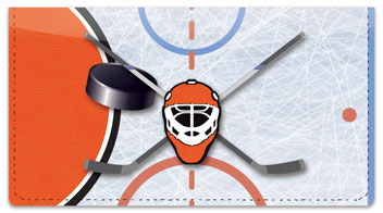 Orange & Black Hockey Checkbook Cover