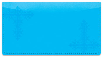 Blue Corner Scroll Checkbook Cover