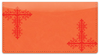Red Corner Scroll Checkbook Cover