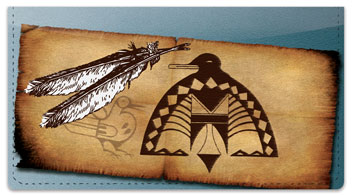 Native American Bird Symbol Checkbook Cover