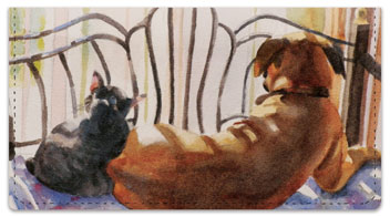 Dog and Cat Painting Checkbook Cover