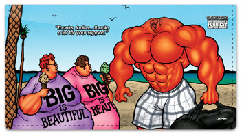Bodybuilder Cartoon Checkbook Cover