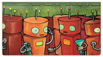 Robot Party Checkbook Cover