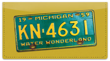 Michigan License Plate Checkbook Cover
