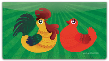 Cartoon Rooster Checkbook Cover