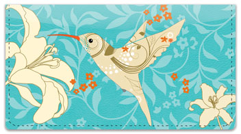 Floral Hummingbird Checkbook Cover