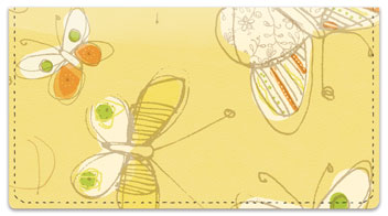 Sepia Butterflies Yellow Checkbook Cover