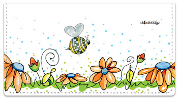 Orange Daisies with Bees Checkbook Cover