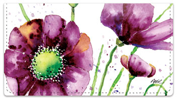 Violet Poppies Checkbook Cover