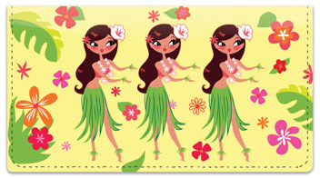 Hula Girl Checkbook Cover