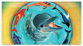 Swimming Dolphin Checkbook Cover