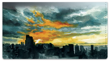 Sunset Scene Checkbook Cover