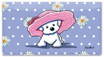 Bichon Frise Girls Checkbook Cover