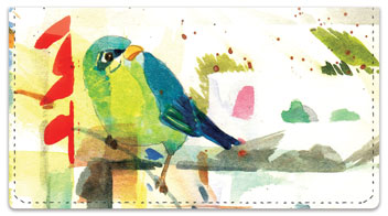 Mixed Media Birds Checkbook Cover