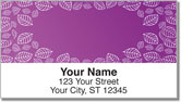 Purple Leaf Border Address Labels