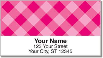 Pink Plaid Address Labels