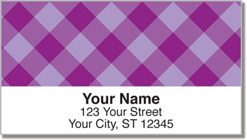 Purple Plaid Address Labels
