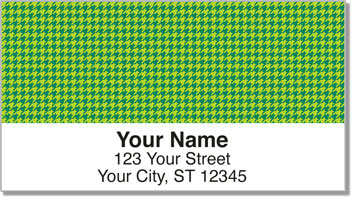 Green Houndstooth Address Labels