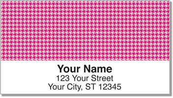 Pink Houndstooth Address Labels