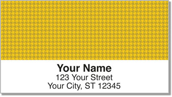 Yellow Houndstooth Address Labels