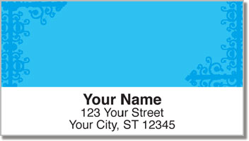Blue Corner Scroll Address Labels