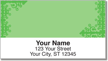 Green Corner Scroll Address Labels