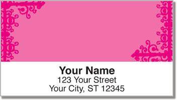 Pink Corner Scroll Address Labels