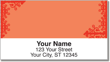 Red Corner Scroll Address Labels