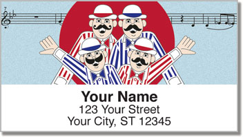 TuneTown Boys Barbershop Quartet Address Labels