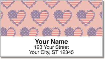 Patriotic Heart Address Labels