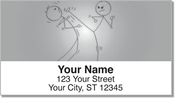 Kung Fu Stick Figure Address Labels