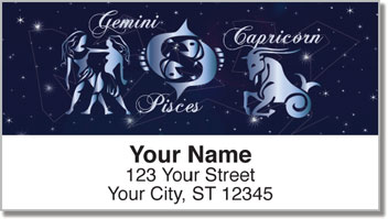 Zodiac Symbol Address Labels
