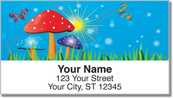 Retro Mushroom Address Labels