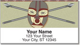 African Tribal Mask Address Labels