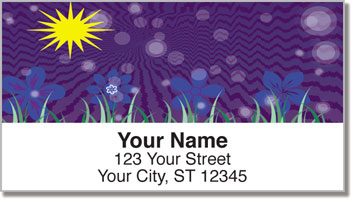 Cute Blue Flower Address Labels
