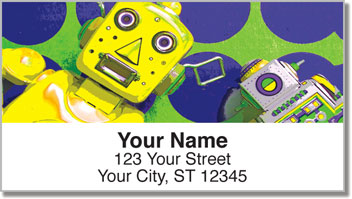Retro Robot Address Labels