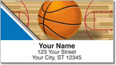 Blue & Silver Basketball Address Labels
