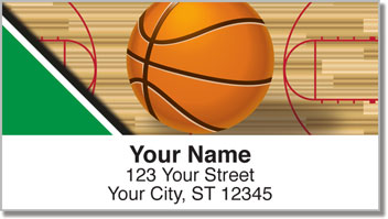 Green & Black Basketball Address Labels