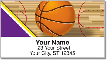 Purple & Gold Basketball Address Labels