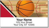 Red & Black Basketball Address Labels