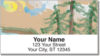 Pine Tree Painting Address Labels
